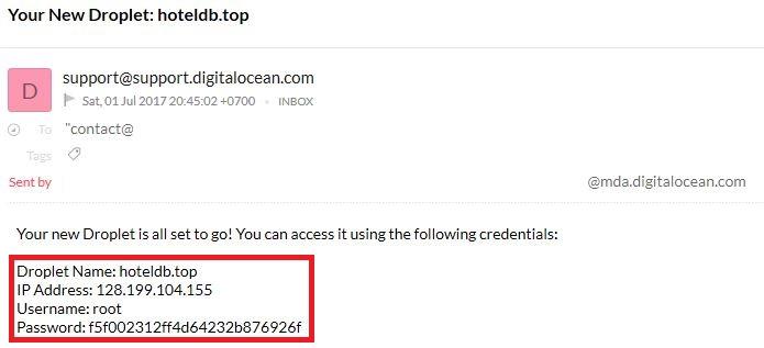 Cek Email Data Droplet DigitalOcean