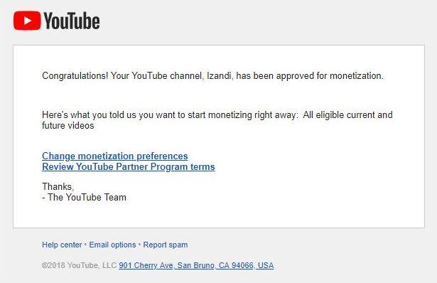 Monetisasi YouTube Aktif
