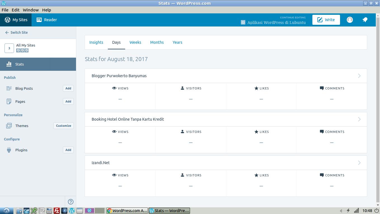 Tampilan Antarmuka Aplikasi WordPress Lubuntu