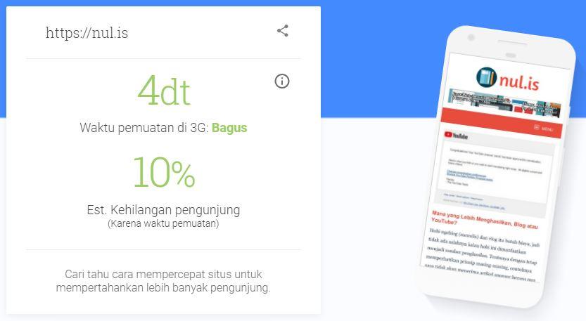 Tes Kecepatan Blog di Google