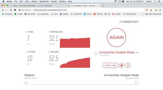 Test Kecepatan Wifi Corner Telkom Graha Merah Putih Purwokerto